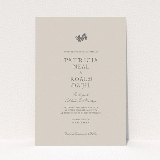 """A personalised wedding invitation design called """"Woodland dusk"""". It is an A5 invite in a portrait orientation. """"Woodland dusk"""" is available as a flat invite, with mainly dark cream colouring."""