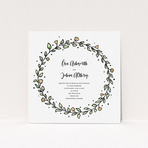 """A personalised wedding invitation named """"Wreath Outline"""". It is a square (148mm x 148mm) invite in a square orientation. """"Wreath Outline"""" is available as a flat invite, with tones of light green and orange."""