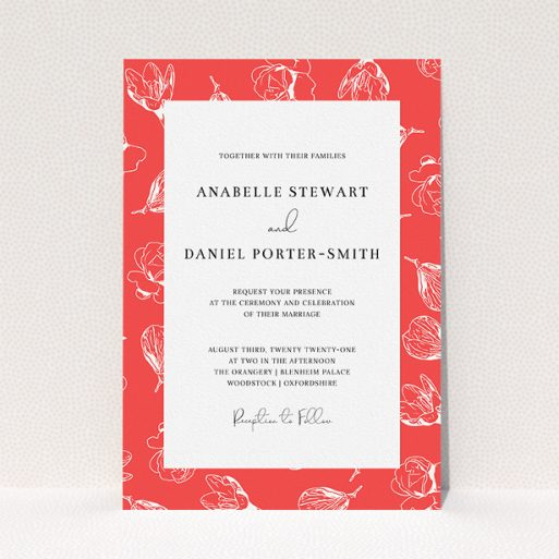 """A personalised wedding invitation called """"Young Bloom"""". It is an A5 invite in a portrait orientation. """"Young Bloom"""" is available as a flat invite, with tones of red and white."""