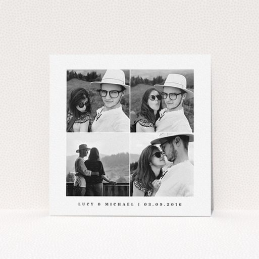 """A personalised wedding invite design named """"4 Quarters Classic"""". It is a square (148mm x 148mm) invite in a square orientation. It is a photographic personalised wedding invite with room for 4 photos. """"4 Quarters Classic"""" is available as a flat invite, with mainly white colouring."""