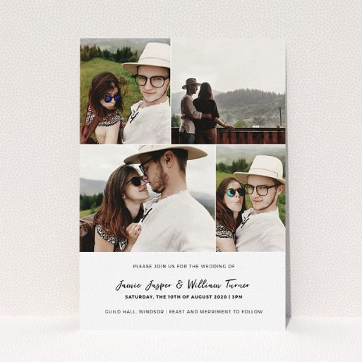 """A personalised wedding invite design titled """"All on top"""". It is an A5 invite in a portrait orientation. It is a photographic personalised wedding invite with room for 4 photos. """"All on top"""" is available as a flat invite, with mainly white colouring."""