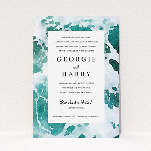 """A personalised wedding invite design titled """"Awash"""". It is an A5 invite in a portrait orientation. """"Awash"""" is available as a flat invite, with tones of green, blue and light blue."""
