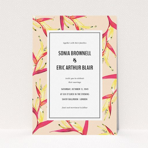 """A personalised wedding invite called """"Birds of paradise"""". It is an A5 invite in a portrait orientation. """"Birds of paradise"""" is available as a flat invite, with tones of peach and deep pink."""