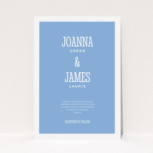 """A personalised wedding invite design called """"Bold border"""". It is an A5 invite in a portrait orientation. """"Bold border"""" is available as a flat invite, with tones of blue and white."""