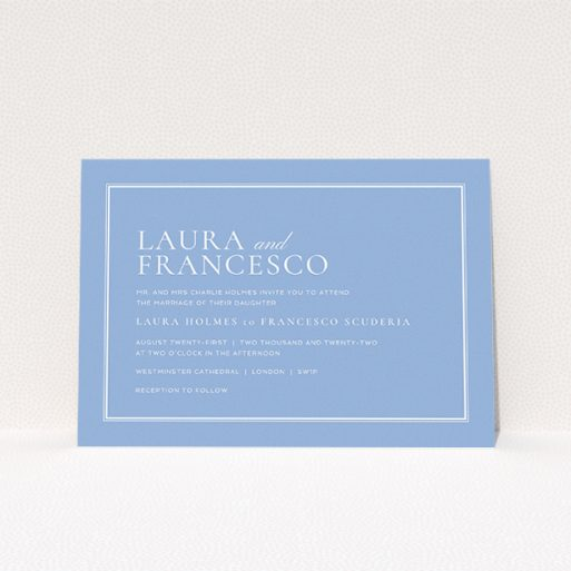 """A personalised wedding invite design named """"Ceramic"""". It is an A5 invite in a landscape orientation. """"Ceramic"""" is available as a flat invite, with tones of blue and white."""