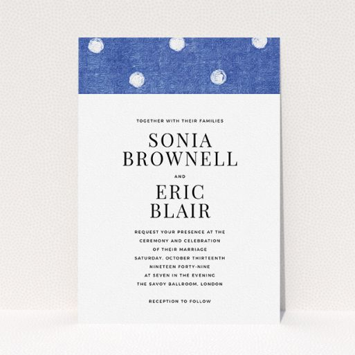 """A personalised wedding invite design called """"Cloth polkadots"""". It is an A5 invite in a portrait orientation. """"Cloth polkadots"""" is available as a flat invite, with tones of blue and white."""