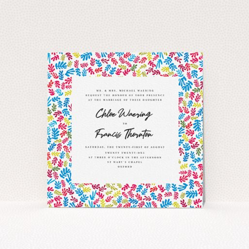 """A personalised wedding invite named """"Cut Out-esque Frame"""". It is a square (148mm x 148mm) invite in a square orientation. """"Cut Out-esque Frame"""" is available as a flat invite, with tones of white and blue."""