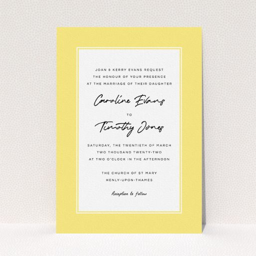 """A personalised wedding invite template titled """"Daisy Yellow"""". It is an A5 invite in a portrait orientation. """"Daisy Yellow"""" is available as a flat invite, with tones of yellow and white."""