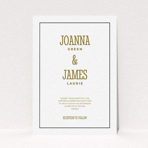 """A personalised wedding invite design called """"Fill the space"""". It is an A5 invite in a portrait orientation. """"Fill the space"""" is available as a flat invite, with tones of white and gold."""