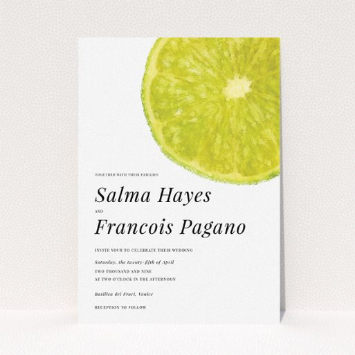 """A personalised wedding invite design called """"Fresh lime"""". It is an A5 invite in a portrait orientation. """"Fresh lime"""" is available as a flat invite, with tones of green and white."""