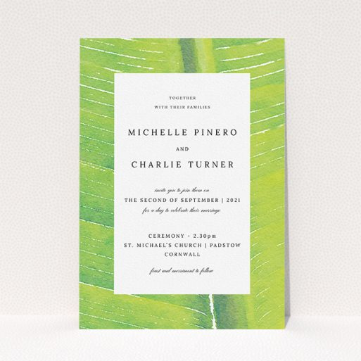 """A personalised wedding invite template titled """"Full Jungle"""". It is an A5 invite in a portrait orientation. """"Full Jungle"""" is available as a flat invite, with tones of green and white."""