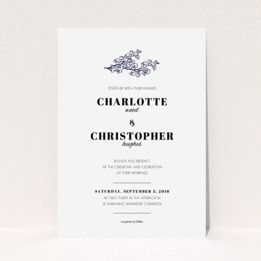 """A personalised wedding invite template titled """"Greek island"""". It is an A5 invite in a portrait orientation. """"Greek island"""" is available as a flat invite, with tones of white and Navy blue."""