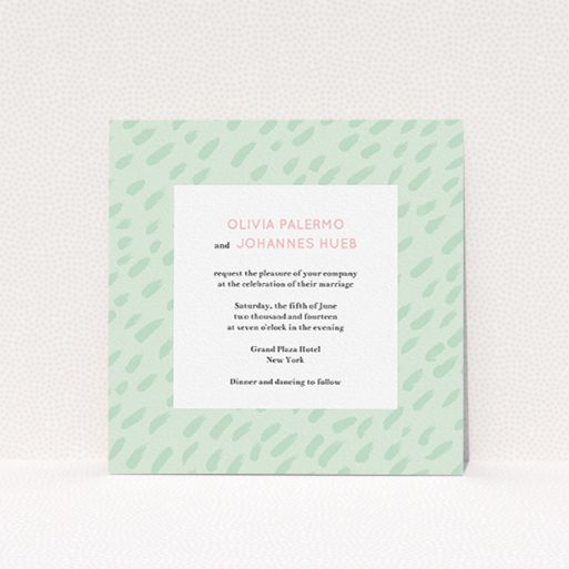 """A personalised wedding invite template titled """"Green Strokes"""". It is a square (148mm x 148mm) invite in a square orientation. """"Green Strokes"""" is available as a flat invite, with tones of green and white."""