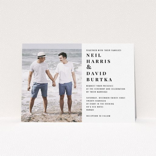 """A personalised wedding invite design called """"Half full"""". It is an A5 invite in a landscape orientation. It is a photographic personalised wedding invite with room for 1 photo. """"Half full"""" is available as a flat invite, with mainly white colouring."""