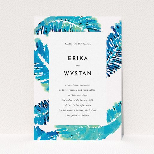 """A personalised wedding invite template titled """"Jungle bloom"""". It is an A5 invite in a portrait orientation. """"Jungle bloom"""" is available as a flat invite, with tones of blue and white."""