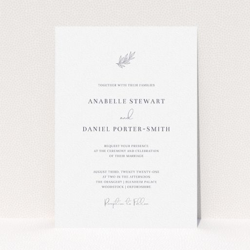 """A personalised wedding invite design titled """"Just that simple"""". It is an A5 invite in a portrait orientation. """"Just that simple"""" is available as a flat invite, with tones of white and grey."""