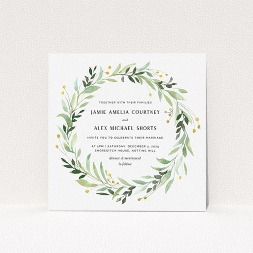"""A personalised wedding invite design named """"Light Floral Wreath"""". It is a square (148mm x 148mm) invite in a square orientation. """"Light Floral Wreath"""" is available as a flat invite, with tones of ice blue, light green and yellow."""