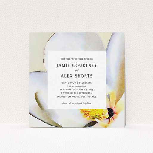 """A personalised wedding invite design called """"Magnolia Frame"""". It is a square (148mm x 148mm) invite in a square orientation. """"Magnolia Frame"""" is available as a flat invite, with tones of cream and yellow."""