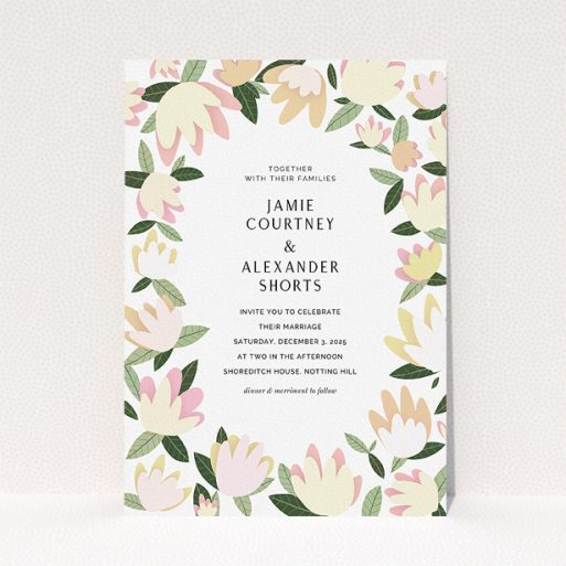 """A personalised wedding invite design named """"Modern Floral"""". It is an A5 invite in a portrait orientation. """"Modern Floral"""" is available as a flat invite, with tones of cream, yellow and light green."""