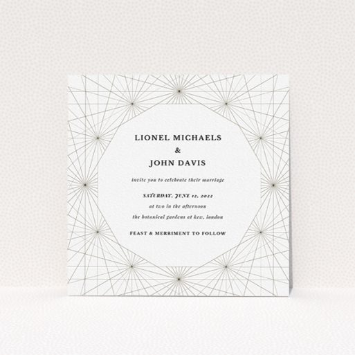 """A personalised wedding invite named """"Nautical Map"""". It is a square (148mm x 148mm) invite in a square orientation. """"Nautical Map"""" is available as a flat invite, with tones of black and white."""