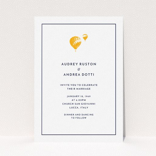 """A personalised wedding invite design called """"Off and away"""". It is an A5 invite in a portrait orientation. """"Off and away"""" is available as a flat invite, with tones of white and orange."""