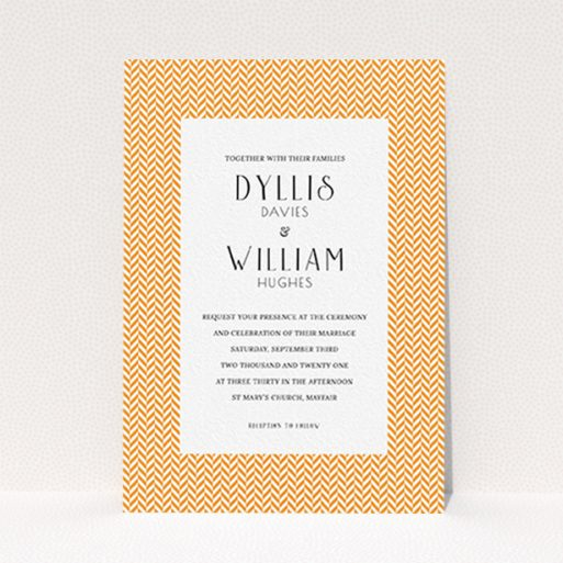"""A personalised wedding invite called """"Orange Houndstooth"""". It is an A6 invite in a portrait orientation. """"Orange Houndstooth"""" is available as a flat invite, with tones of orange and white."""
