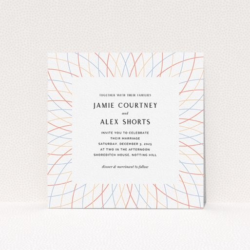 """A personalised wedding invite template titled """"Pastel Lines"""". It is a square (148mm x 148mm) invite in a square orientation. """"Pastel Lines"""" is available as a flat invite, with tones of off-white and yellow."""