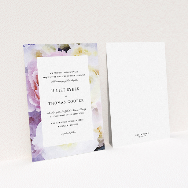 """A personalised wedding invite named """"Pink Rose Frame"""". It is an A5 invite in a portrait orientation. """"Pink Rose Frame"""" is available as a flat invite, with tones of light purple and pink."""