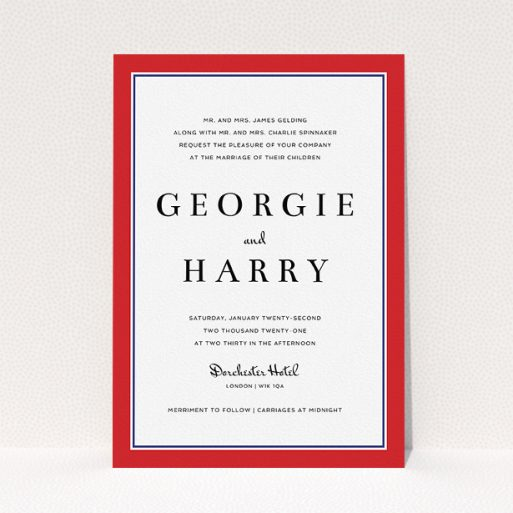 """A personalised wedding invite design called """"Red with Blue"""". It is an A5 invite in a portrait orientation. """"Red with Blue"""" is available as a flat invite, with tones of red and blue."""