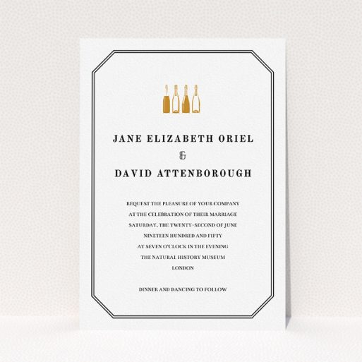 """A personalised wedding invite design named """"See you at the reception"""". It is an A5 invite in a portrait orientation. """"See you at the reception"""" is available as a flat invite, with tones of gold and black."""