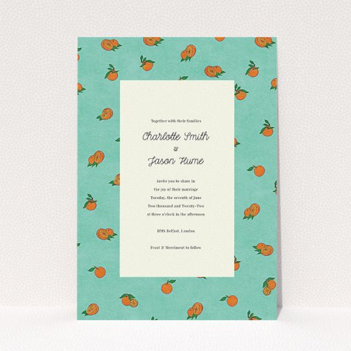 """A personalised wedding invite template titled """"Seville"""". It is an A5 invite in a portrait orientation. """"Seville"""" is available as a flat invite, with tones of orange and blue."""