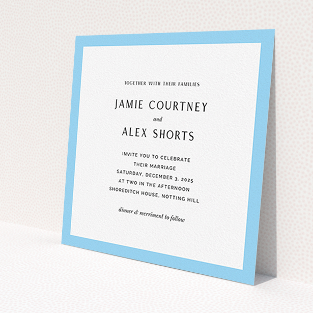 """A personalised wedding invite design named """"Simple Blue"""". It is a square (148mm x 148mm) invite in a square orientation. """"Simple Blue"""" is available as a flat invite, with tones of blue and white."""