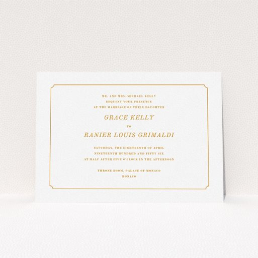 """A personalised wedding invite named """"Simple circle border"""". It is an A5 invite in a landscape orientation. """"Simple circle border"""" is available as a flat invite, with tones of white and orange."""
