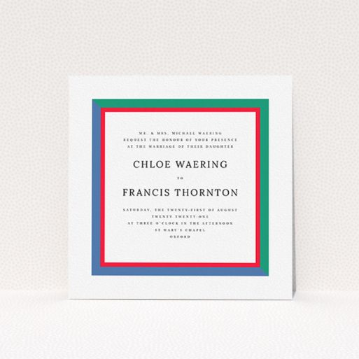 """A personalised wedding invite design called """"Simple Diagonal"""". It is a square (148mm x 148mm) invite in a square orientation. """"Simple Diagonal"""" is available as a flat invite, with mainly green colouring."""