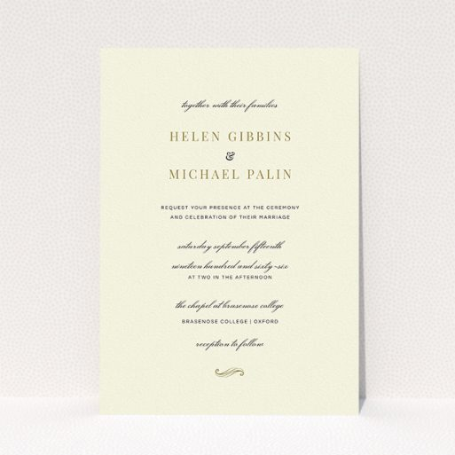 """A personalised wedding invite called """"Simple flourish"""". It is an A5 invite in a portrait orientation. """"Simple flourish"""" is available as a flat invite, with tones of cream and gold."""