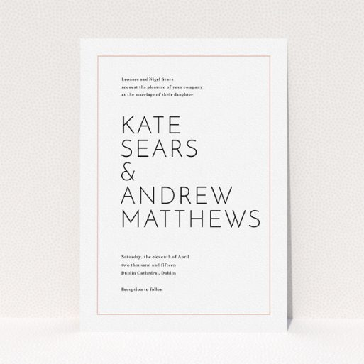 """A personalised wedding invite called """"Simple lines"""". It is an A5 invite in a portrait orientation. """"Simple lines"""" is available as a flat invite, with tones of white and pink."""