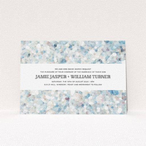 """A personalised wedding invite named """"Speckled Oils"""". It is an A5 invite in a landscape orientation. """"Speckled Oils"""" is available as a flat invite, with tones of light blue, light grey and white."""