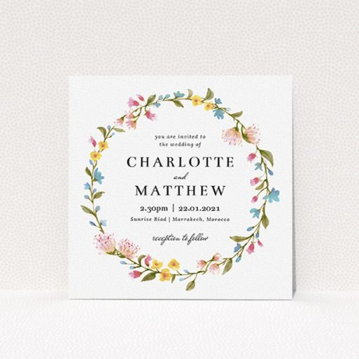 """A personalised wedding invite template titled """"Spring Wreath"""". It is a square (148mm x 148mm) invite in a square orientation. """"Spring Wreath"""" is available as a flat invite, with mainly pink colouring."""