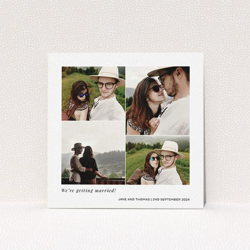 """A personalised wedding invite design titled """"Stacked Photos"""". It is a square (148mm x 148mm) invite in a square orientation. It is a photographic personalised wedding invite with room for 4 photos. """"Stacked Photos"""" is available as a flat invite, with mainly white colouring."""