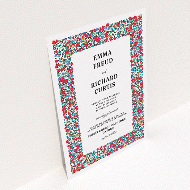 """A personalised wedding invite called """"Summer from a distance"""". It is an A5 invite in a portrait orientation. """"Summer from a distance"""" is available as a flat invite, with tones of white and red."""