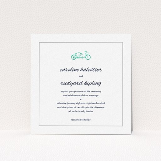 """A personalised wedding invite named """"Tandem sheet"""". It is a square (148mm x 148mm) invite in a square orientation. """"Tandem sheet"""" is available as a flat invite, with tones of white and green."""