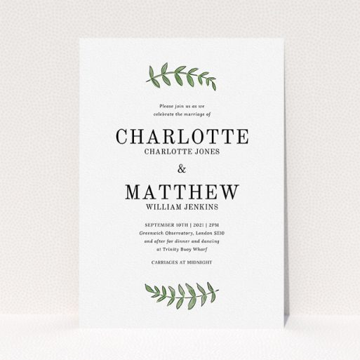"""A personalised wedding invite template titled """"Top and Bottom"""". It is an A5 invite in a portrait orientation. """"Top and Bottom"""" is available as a flat invite, with tones of white and green."""