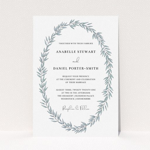 """A personalised wedding invite named """"Tussled Wreath"""". It is an A5 invite in a portrait orientation. """"Tussled Wreath"""" is available as a flat invite, with tones of blue and white."""