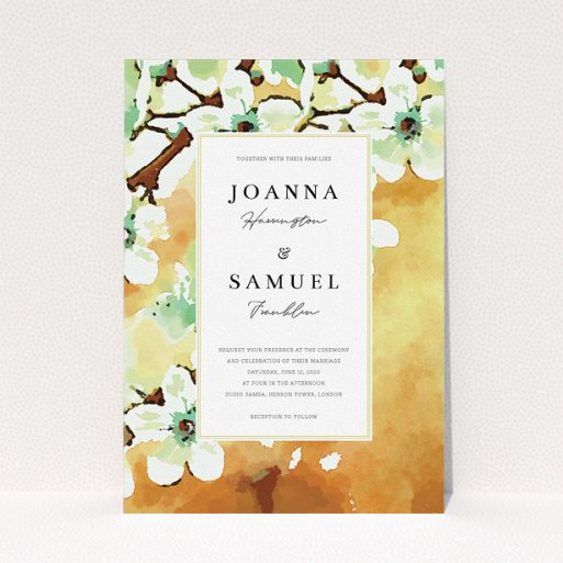 """A personalised wedding invite design titled """"Vintage Blossom"""". It is an A5 invite in a portrait orientation. """"Vintage Blossom"""" is available as a flat invite, with tones of deep orange, mint green and white."""