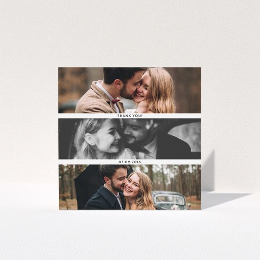 """A photo wedding thank you card design called """"1,2,3"""". It is a square (148mm x 148mm) card in a square orientation. It is a photographic photo wedding thank you card with room for 3 photos. """"1,2,3"""" is available as a folded card, with mainly white colouring."""