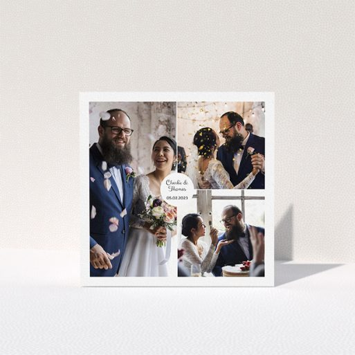 """A photo wedding thank you card design called """"3 Photo Put Together"""". It is a square (148mm x 148mm) card in a square orientation. It is a photographic photo wedding thank you card with room for 3 photos. """"3 Photo Put Together"""" is available as a folded card, with mainly white colouring."""