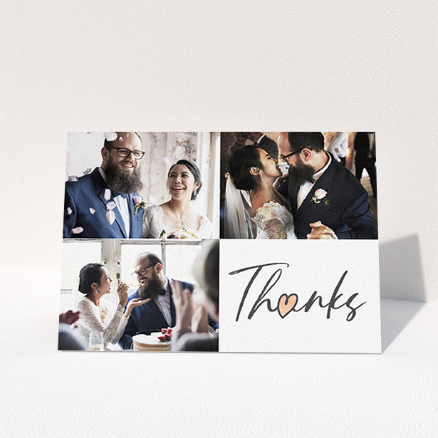 """A photo wedding thank you card design titled """"3 Photos and Thanks"""". It is an A6 card in a landscape orientation. It is a photographic photo wedding thank you card with room for 3 photos. """"3 Photos and Thanks"""" is available as a folded card, with tones of black and white."""