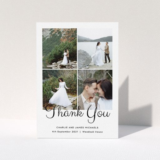 """A photo wedding thank you card template titled """"4 Photos Arranged"""". It is an A5 card in a portrait orientation. It is a photographic photo wedding thank you card with room for 4 photos. """"4 Photos Arranged"""" is available as a folded card, with mainly white colouring."""