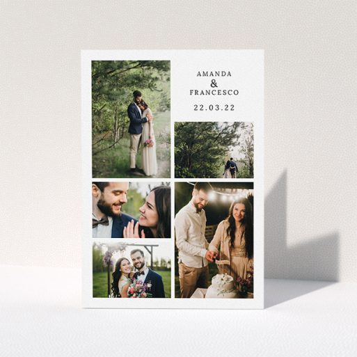 """A photo wedding thank you card named """"5 Photo Frame"""". It is an A5 card in a portrait orientation. It is a photographic photo wedding thank you card with room for 5 photos. """"5 Photo Frame"""" is available as a folded card, with mainly white colouring."""