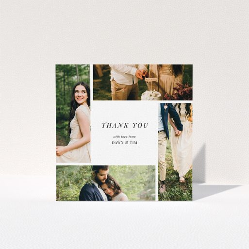 """A photo wedding thank you card named """"Around the sides"""". It is a square (148mm x 148mm) card in a square orientation. It is a photographic photo wedding thank you card with room for 3 photos. """"Around the sides"""" is available as a folded card, with tones of black and white."""